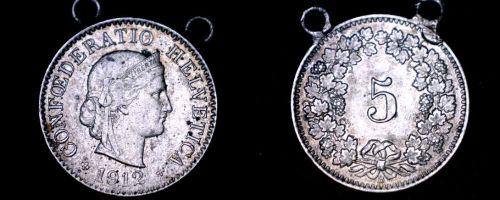1912 Swiss 5 Rappen World Coin - Switzerland - Looped