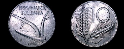 1956-R Italian 10 Lire World Coin - Italy