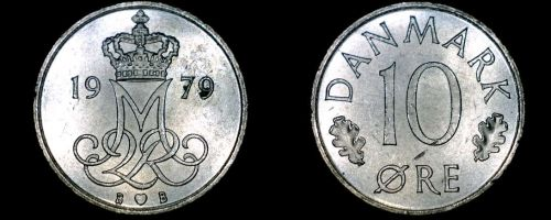 1979 Danish 10 Ore World Coin - Denmark