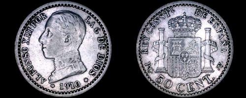 1910(10) Spanish 50 Centimos World Silver Coin - Spain