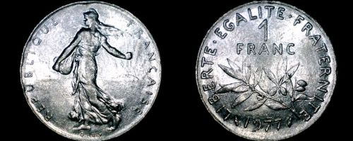 1977 French 1 Franc World Coin - France