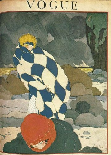 Vogue 1919 Cover Print Man Lady Storm by Lepape Art Deco 1984 original print