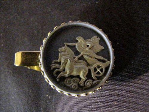 Vintage Roman Gladiator riding horse drawn carriage Tie Clip