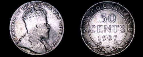 1907 Newfoundland 50 Cent World Silver Coin - Canada