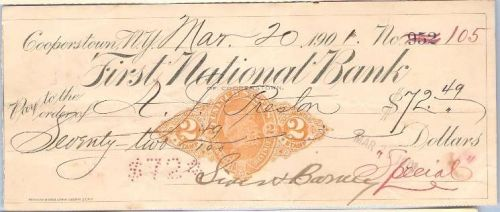 New York Cooperstown Cancelled Check First National Bank of Cooperstown Ch~39