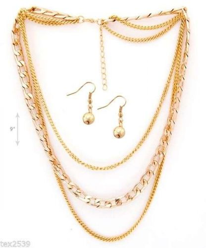 LADIES New two NECKLACES & EARRING SET 1 GOLD & 1 SILVER COLOR MULTI CHAIN SET