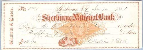 New York Shelburne Cancelled Check Shelburne National Bank Check #5141 Dat~51