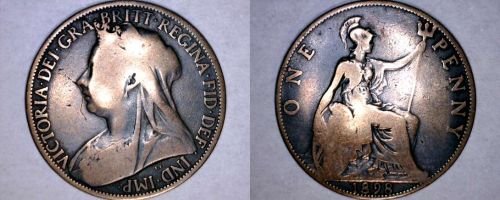 1898 One Penny World Coin - Great Britain - UK - England