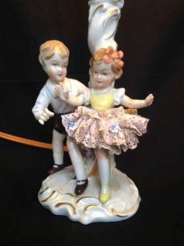 antique DRESDEN porcelain lampfoot. Dancing children. Marked