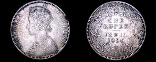 1890 Indian 1 Rupee World Silver Coin - British India