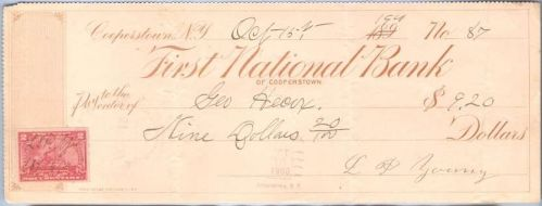 New York Cooperstown Cancelled Check First National Bank of Cooperstown Ch~36