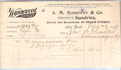 New York New York City Letterhead / Billhead A. M. Scheffey & Co. 92 Reade~40