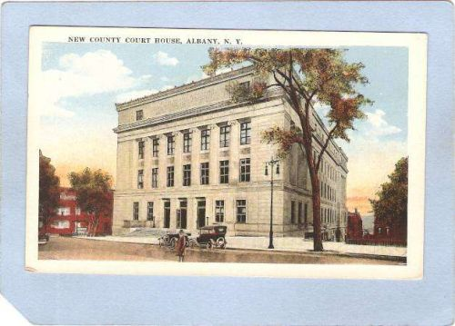 New York Albany County Court House Street Scene Intersection w/Old Cars ny~389