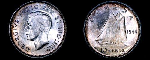 1946 Canada 10 Cent World Silver Coin - Canada - George VI
