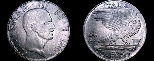 1941 Italian 50 Centesimi World Coin - Italy