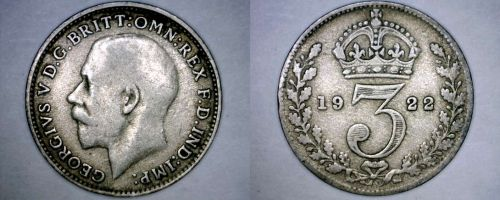 1922 Great Britain 3 Pence World Silver Coin - UK