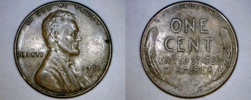 1951-S Abraham Lincoln Wheat Penny