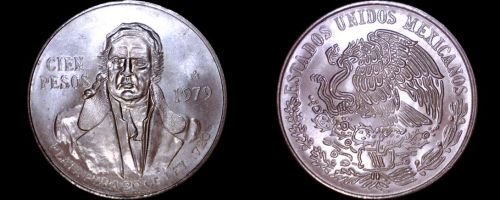 1979 Mexican 100 Peso World Silver Coin - Mexico Morelos