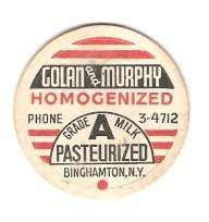 New York Binghamton Milk Bottle Cap Name/Subject: Golan and Murphy Grade A~424