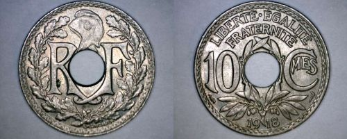 1918 French 10 Centimes World Coin - France