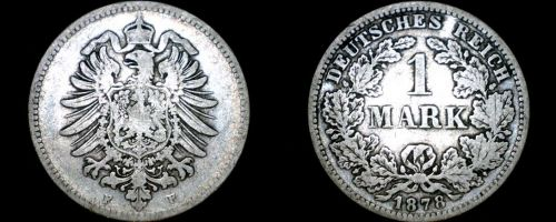 1878 F German Empire 1 Mark World Silver Coin - Germany