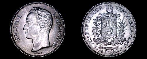 1967 Venezuelan 1 Bolivar World Coin - Venezuela