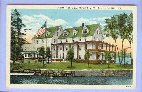 New York Lake Pleasant Adirondack Mts Osborne Inn View From Water Large Ol~86