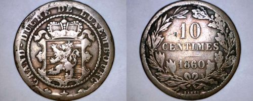 1860-A Luxembourg 10 Centimes World Coin