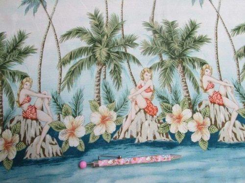 Nautical Fabric Hawaii Beach Palm Trees Quilt Block 55 x 55 cm.FQ BANDANNA SCARF