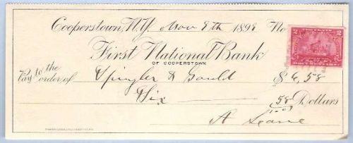 New York Cooperstown Cancelled Check First National Bank Check # Dated: No~4