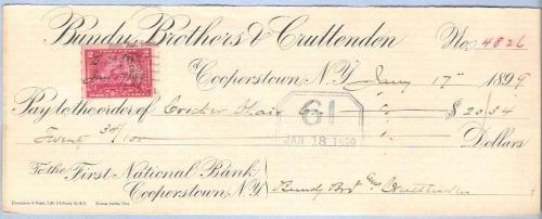 New York Cooperstown Cancelled Check Bundy Brothers & Cruttenden To the Fi~22