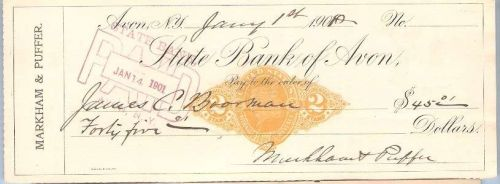 New York Avon Cancelled Check State Bank of Avon Check # Dated: January 1,~38