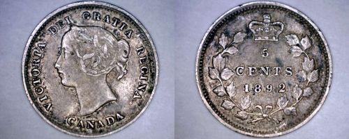 1892 Canada 5 Cent World Silver Coin - Canada - Victoria