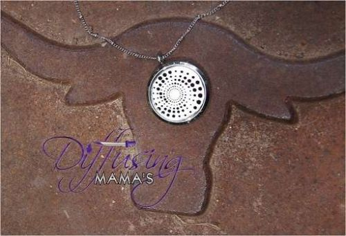 Large Spiral Diffusing Mama's Brand Essential Oils Aromatherapy Locket Necklace