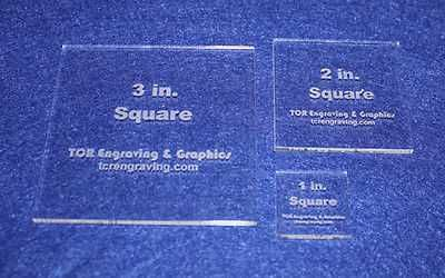 """3 Piece Square Set 1"""", 2"""", 3"""" 1/8"""" Clear Acrylic - Quilting Templates- No seam"""