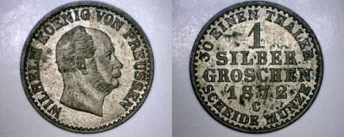 1872-C German States Prussia 1 Silber Groschen World Silver Coin - Germany