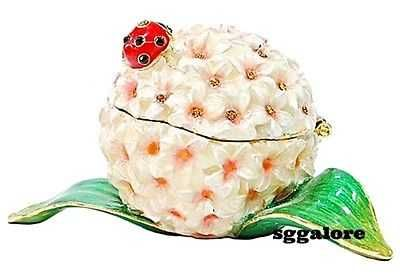 New RUCINNI Swarovski Crystals BeJeweled LADYBUG Floral Trinket Jewelry BOX
