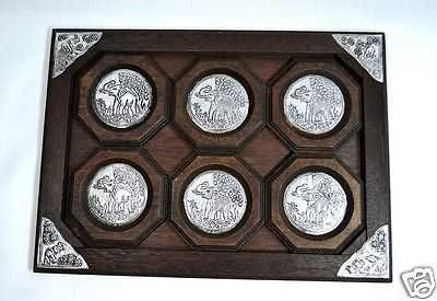 THAI HANDMADE ELEPHANT SET OF 6 PCS BROWN WOOD COASTERS SAUCER WITH DINNING