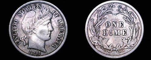 1911-P Barber Dime Silver