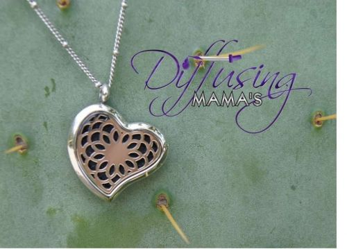 Heart Flower Diffusing Mama's Brand Essential Oils Aromatherapy Locket Necklace