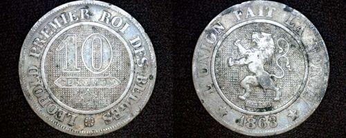 1863 Belgium 10 Centimes World Coin