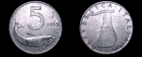 1955 Italian 5 Lire World Coin - Italy - Dolphin