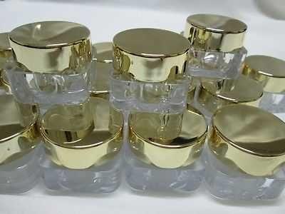 10 g Empty Cosmetic Cream Acrylic Plastic Jars Pot Bottle Gold Caps Travel 50