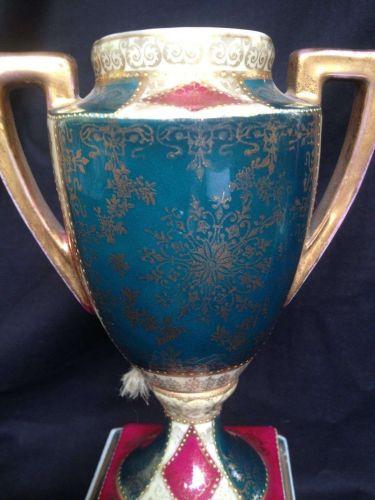Antique porcelain 19th C. Pair of German Royal Vienna Porcelain Vases - URN
