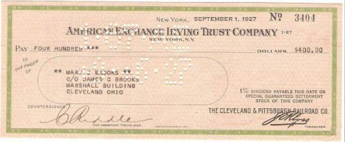 New York New York Cancelled Check American Exchnge Irving Trust Company Ch~76