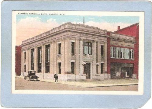 New York Malone Farmers National Bank Street Scene Intersection w/Old Car ~1884