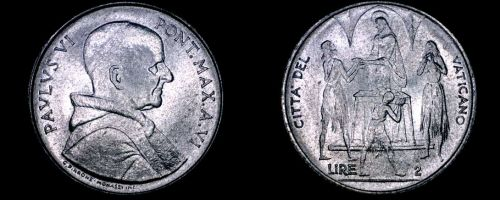 1968 Vatican City 2 Lire World Coin - Catholic Church Italy
