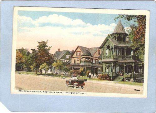 New York Johnson City Residence Section West Main St Street Scene w/Old Ca~826