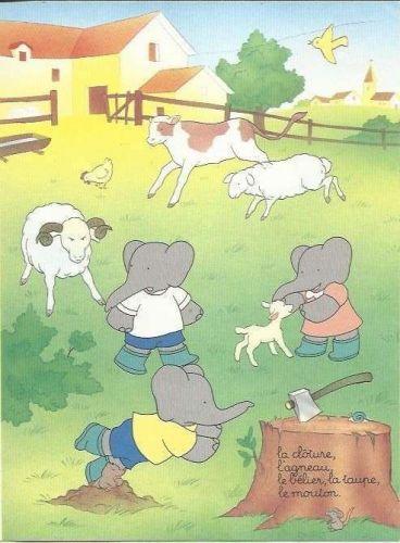 Babar The Elephant Farm Cow Sheep Lamb Chopper Mole Kids Art 1993 French print