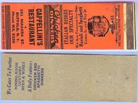 New York Buffalo Matchcover Advertising Cappellinis Restaurant 101 Niagara~145